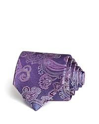 Bloomingdale's The Men's Store At Textured Ground Paisley Classic Tie Purple