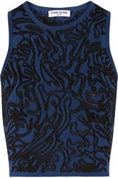 Opening Ceremony Cropped Intarsia Stretch Knit Top Blue
