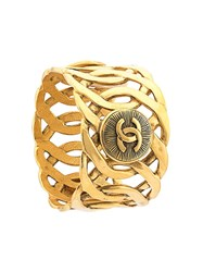 Chanel Vintage Woven Effect Wide Cuff Metallic