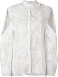 Chalayan 'Dancing Palms' Open Sleeve Shirt White