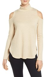 Bobeau Women's Cold Shoulder Mock Neck Top Ivory Gold K0303