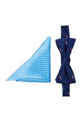 Alara Silk Fdr Democratic Donkey Bow Tie And Pocket Square Set Blue