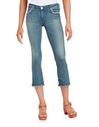 True Religion Frayed Cropped Jeans Gypset Blue
