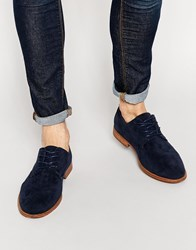 New Look Derby Shoes In Faux Suede Navy
