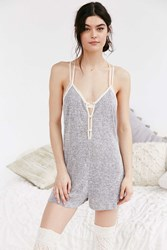 Out From Under Rachel Knit Romper Grey