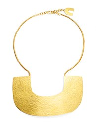 Herve Van Der Straeten Hammered Plate Collar Necklace Gold