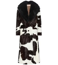 Marni Calf Hair Coat With Fur Collar Black