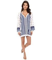 Tommy Bahama Paisley Engineered Tunic Cover Up Mare Navy Women's Swimwear