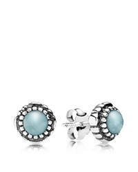 Pandora Design Pandora Earrings Sterling Silver And Aquamarine Birthday Blooms March Stud Silver Aquamarine