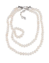 Carolee Fresh Water Pearl Two Strand Necklace Pearl Silver