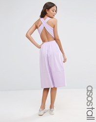 Asos Tall Midi Skater Dress With Cross Back Dusky Lilac Purple