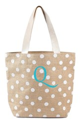 Cathy's Concepts Personalized Polka Dot Jute Tote White White Q