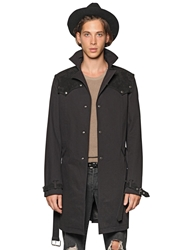 Cotton Gabardine And Suede Trench Coat Black