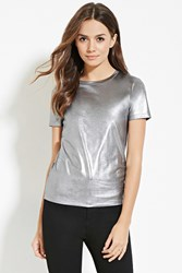 Forever 21 Contemporary Metallic Knit Tee Silver