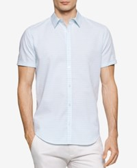 Calvin Klein Men's Horizontal Striped Dobby Short Sleeve Shirt White