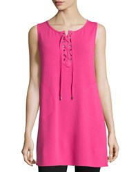 Neiman Marcus Active Lace Up V Neck Tank Gypsy Pink
