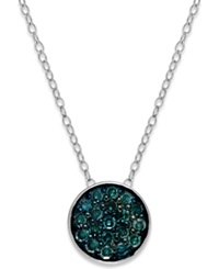Macy's Blue Diamond Round Pendant Necklace In Sterling Silver 1 4 Ct. T.W.