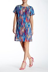 Felicity And Coco Short Sleeve Watercolor Print Woven Shift Dress Blue