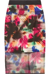 Milly Printed Scuba And Mesh Pencil Skirt Red