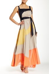 Gracia Accordion Pleated Colorblock Maxi Dress Orange
