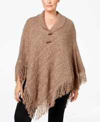 Karen Scott Plus Size Cable Knit Fringe Poncho Only At Macy's Grain Marble
