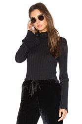 Enza Costa Cashmere Rib Mock Neck Tee Black