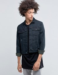 Cheap Monday Staple Denim Jacket Blackened Distressed Blackened