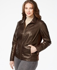 Kenneth Cole Plus Size Faux Leather Bomber Jacket Chocolate