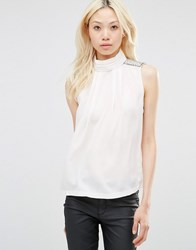 Y.A.S Amia Mock Neck Sleeveless Top Gardenia Beige