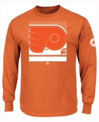 Majestic Men's Philadelphia Flyers Slashing Long Sleeve T Shirt Orange