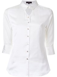 Loveless Keyhole Panel Button Down Shirt White