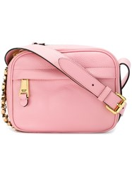 Moschino Logo Plaque Crossbody Bag Pink And Purple
