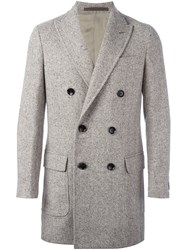 Eleventy Double Breasted Coat Nude And Neutrals