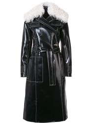 Proenza Schouler Shearling Collar Trench Coat Black