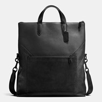 Coach Manhattan Foldover Tote In Patchwork Leather Black Black