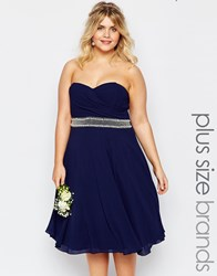 Tfnc Plus Chiffon Midi Prom Dress With Full Skirt And Embellished Waist Navy
