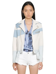 Iro Grained Leather And Cotton Denim Jacket White Blue