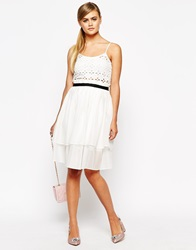 Dahlia Layered Midi Skirt With Contrast Waistband White