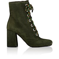Prada Women's Lace Up Suede Ankle Boots Green