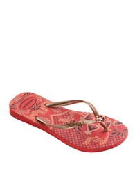 Havaianas Peacock Paisley Slim Thematic Flip Flops Ruby Red