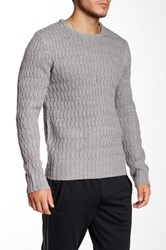 Yoki Crew Neck Open Knit Sweater Gray