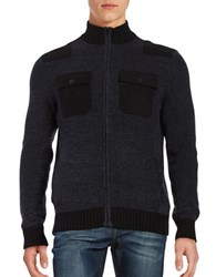 Kenneth Cole Contrast Zip Front Sweater Indigo