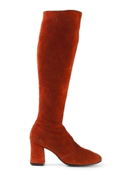 Biba Vintage Knee High Boots Yellow And Orange