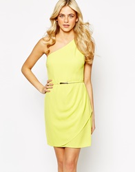 Oasis One Shoulder Crepe Dress Brightyellow