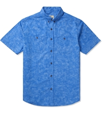 Blue Marbled S S Button Down Shirt