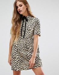 Motel Halloween Metis Tie Neck Shirt Dress In Leopard Print Multi Beige