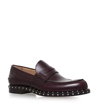 Valentino Rockstud Loafers Male Wine