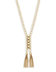 Rj Graziano Goldtone Hammered Stud And Tassel Necklace