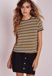 Missguided Multi Stripe T Shirt Mustard Yellow