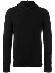 Msgm Ribbed Pullover Hoodie Black